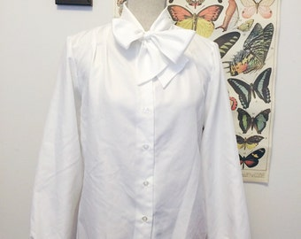 1980s crispy white blouse with bow tie