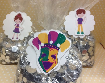 Mardi Gras Party Favor or Candy Bags with Tags - Set of 10