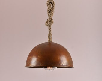 Vintage Retro Industrial pendant Sphere light physical rust color with rope hanging