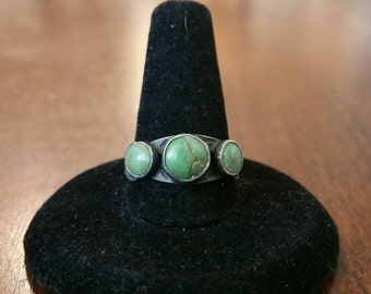 Ca.1930 Native American Fred Harvey Era Silver and Turquoise Ring