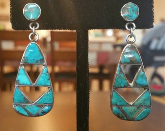 Ca.1960 Zuni Channel Inlay Turquoise and Silver Drop Earrings
