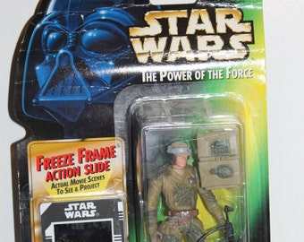 Vintage 1990's Star Wars The Power of the Force Freeze Frame Action Slide Endor Rebel Soldier with Survival Backpack and Blaster Rifle