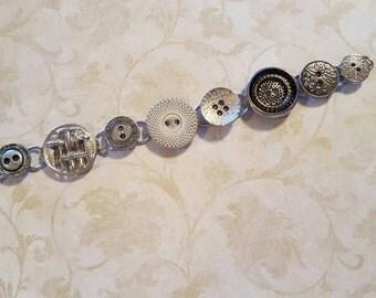 Unique silver button bracelet