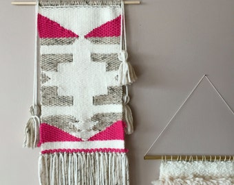 Southwestern Wall Hanging - Neutral with a pop of pink