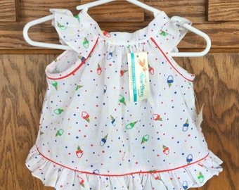 Adorable Open-Back Newborn Top or Dress - Deadstock - New with Tags - Newborn Girl - Ice Cream Shirt