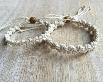 His and her Bracelet, Natural Hemp Bracelets, Couple Hemp Bracelet, Matching Bracelets HC001167