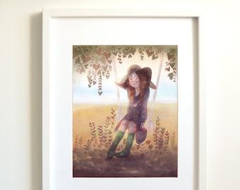 Girl sitting swing | swing | Bohemian | gypsy | gypsy style | nature | field | tree | Art Print Giclee | wall decor | Illustration | spring