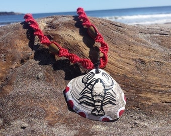 20 in. Maine Beach Shell with Hand-Painting India Ink/Acrylic Lobster on Natural Hemp Cord & Wooden Beads
