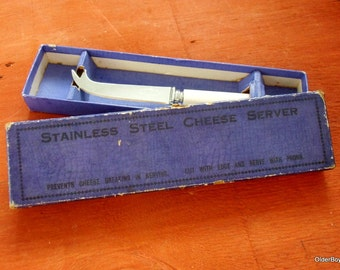 Vintage Cheese Knife, Stainless steel cheese server, sheffield cheese server in blue box C01/091