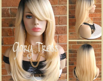 ON SALE // Long & Straight Lace Front Wig, 100% Human Hair Blend Wig, Ombre Platinum Blonde Wig // LOVELY (Free Shipping)