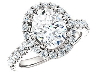 9x7mm Oval Forever One Moissanite & Diamond Halo Engagement Ring 14k White Gold, 18k or Platinum, Moissanite Engagement Rings for Women 2 CT