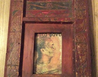Antique wood hand painted Himalayan frame