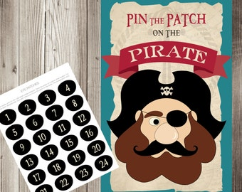 Pin the Patch on the Pirate Game, Pin the Patch on the Pirate Birthday Printable