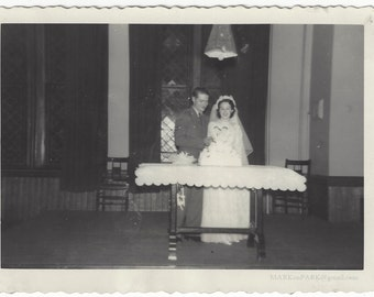 Bride and Groom Cutting Wedding Cake, 1940s (est), Vintage Photograph