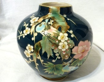 "House of Global Art Japan Hand Painted Vase With Gold Trim 8"" High"