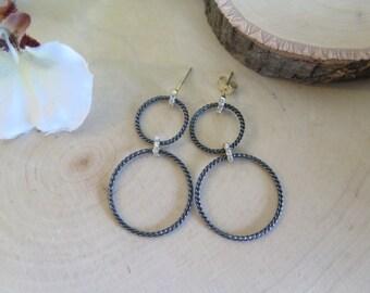 Oxidized silver double dangle earrings