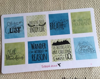 H013 & H014 - Nature Outdoors Horizontal and Vertical Quotes Planner Stickers | Perfect for Your Erin Condren Life Planner