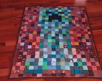 "Handmade Minecraft Creeper Quilt 42"" x 52"""