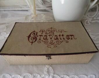 Antique vintage CRAVATTEN fabric box linen embroidered