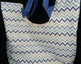 Blue Chevron Summer Beach Tote Bag