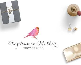 Watercolor Vintage Premade Logo / Vintage shop Logo / Handmade logo / Watercolor Logo