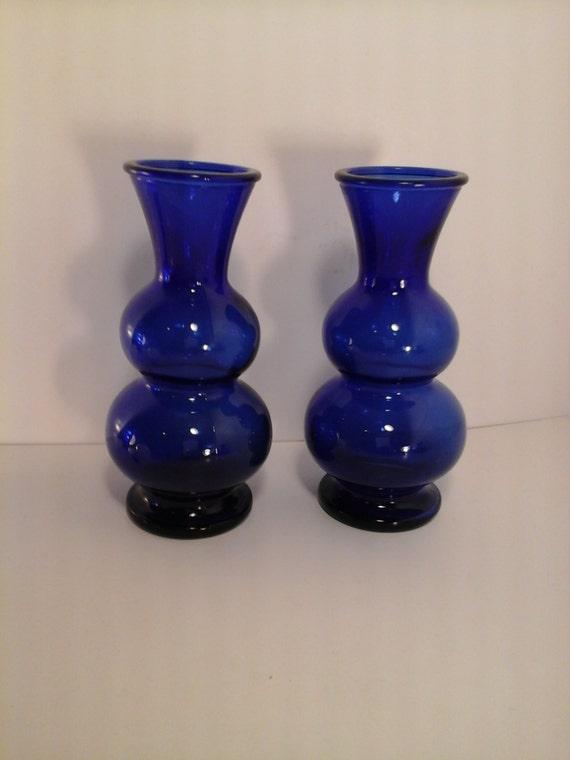 Vintage Set Of 2 Cobalt Blue Glass Vases