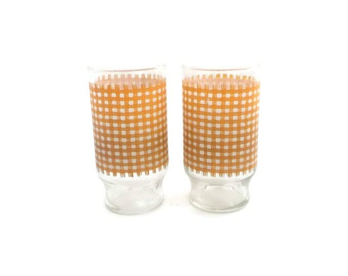 Retro Water Tumblers, Ice Tea Glasses, Vintage Glassware, Drinking Glasses, Orange Glassware