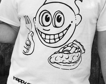 Happy Guy With A Slice Of Pie T-Shirt Smile Whimsical Funny