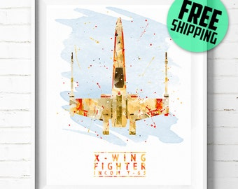 Star Wars T-65 X-wing Starfighter print, Star Wars print, Star Wars X-wing Print, X-wing poster, Star Wars wall art, watercolor art, [310]