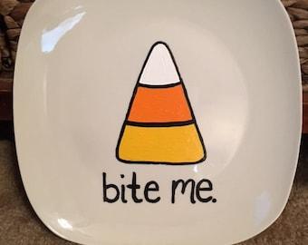 Killer Crafts - Candy Corn Bite Me Plate