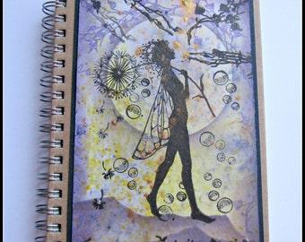 Fairy Notebook,OOAK notebook,Hard back notebook,lined notebook, Fairy Journal,c6 notebook,magical fairy,purple fairy