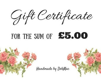 gift certificate, five pounds gift certificate, gift voucher, coupon, stocking filler, stocking stuffer, voucher code, last minute gift