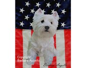 Westie Flag, Westie Patriotic Flag, Westie Gift, Westie Art, Westie, Westhighland White Terrier