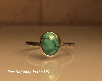 Turquoise Ring./Handmade Turquoise and Sterling Silver Stacking Ring/Gemstone Ring/ Free Shipping in the US.