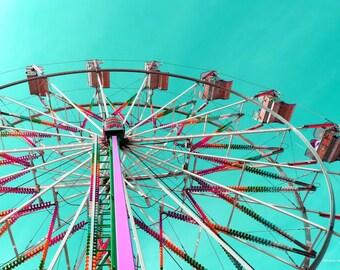 Carnival Ferris Wheel Prints,FREE SHIPPING-United States, Ferris Wheel Decor, Nursery Decor, Fine Art Photography, Home Decor