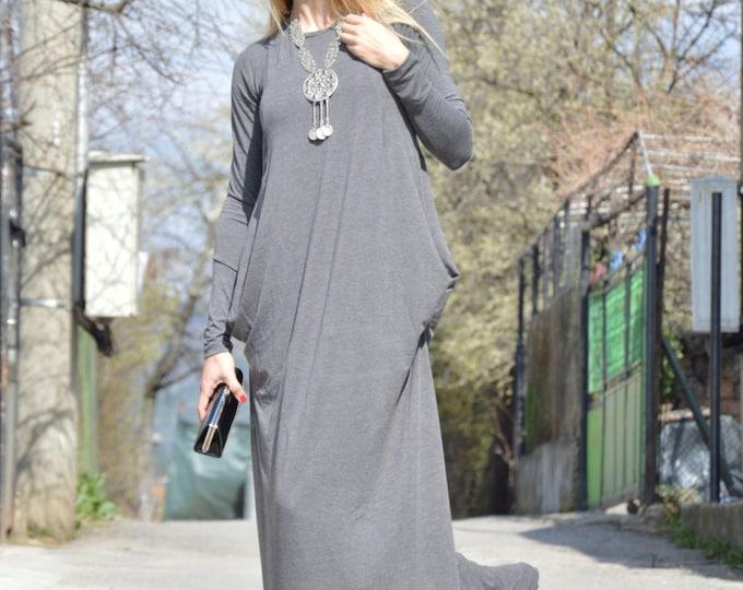 Grey Oversize Long Dress, Plus Size Dress, Comfortable Maxi Dress, Extravagant Dress, Handmade Dress by SSDfashion