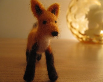 handmade needlefelt fox, miniature