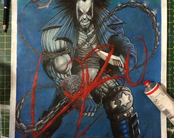 LOBO Original A3 Painting - Signed by Artist