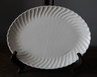"12"" White Ironstone Platter with Swirl Pattern"