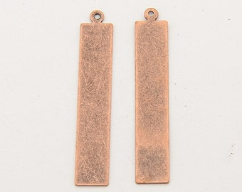 Metal Stamping Blanks Tags Long Rectangle 41mm Antiqued Copper 10 pieces Stamping Blank Charms