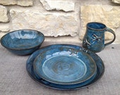 Dragonfly Pottery 3 or 4 Piece, Stoneware, Wheel Thrown Place Setting  in Dark Blue