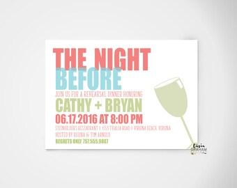 Rehearsal Dinner Invitation, Wedding Rehearsal, Typography, Wedding Stationery, Set of 25