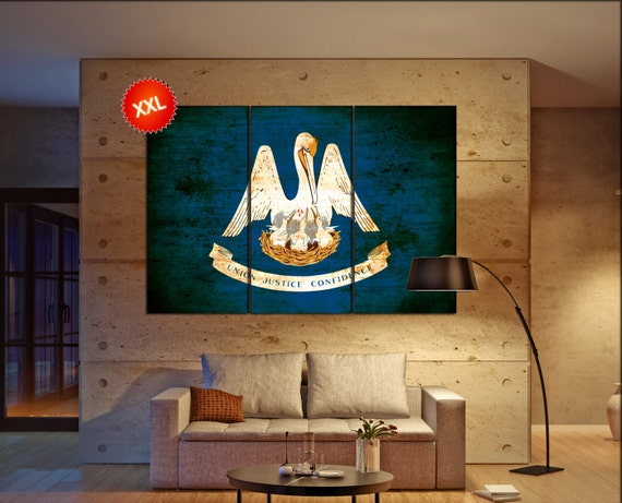 Louisiana State Flag Canvas Art Print Large Wall Art Canvas