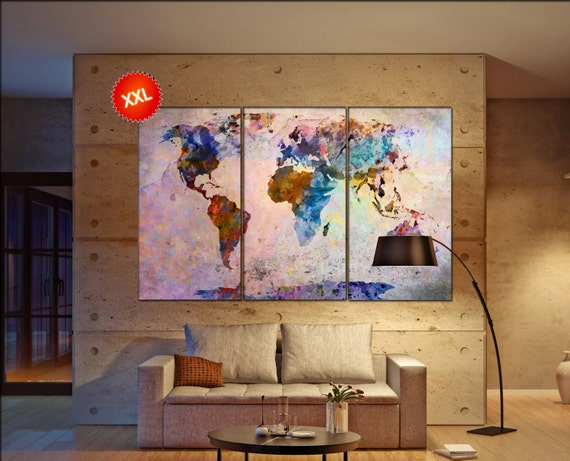wall map of the world  print on canvas wall art Large wall map of the world art artwork large world map  Print home office decoration