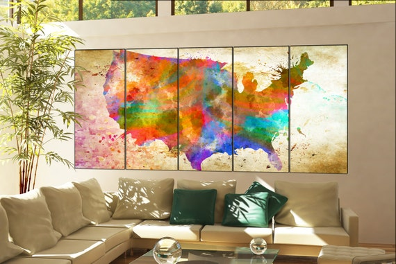 Usa Map print  print on canvas wall art Usa Map print decor Print artwork large Usa Map print home office decoration 5 panel