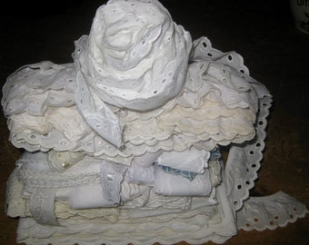 Large Lot Vintage white Cotton Eyelet Trim, Various Lengths, and Widths