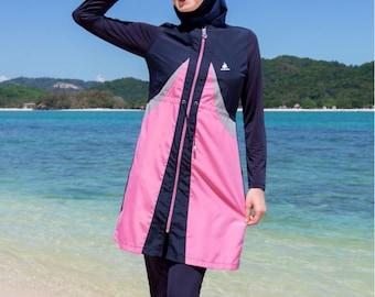 2016 Adabkini Gonca Muslim Swimsuit Islamic Full Cover Modest Swimwear Beachwear-Navy Blue