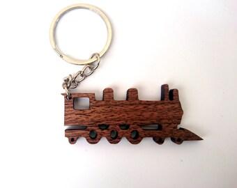 Wooden Steam Train Keychain, Walnut Wood, Railroad Keychain, Old Trains Keychain, Environmental Friendly Green materials