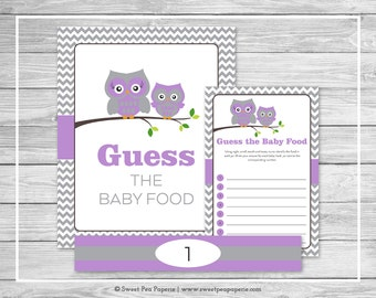 Owl Baby Shower Guess The Baby Food Game - Printable Baby Shower Guess Baby Food Game - Purple Owl Baby Shower - Baby Food Game - SP136