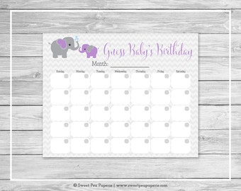 Elephant Baby Shower Guess Baby's Birthday - Printable Baby Shower Guess Baby's Birthday Game - Purple and Gray Elephant Baby Shower - SP116